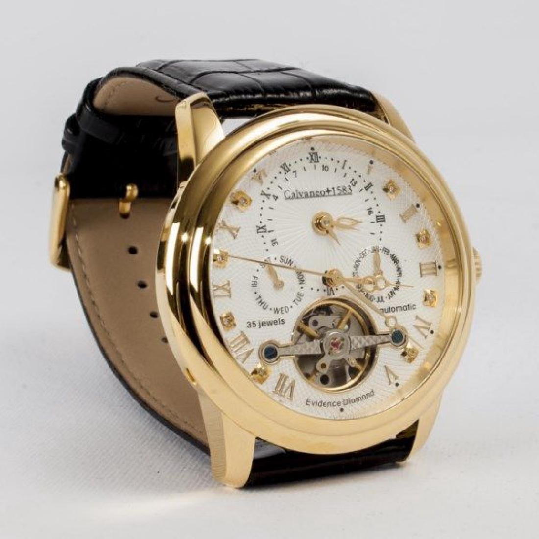 Calvaneo Evidence Diamond Gold Plated Dualtimer Watch - 2