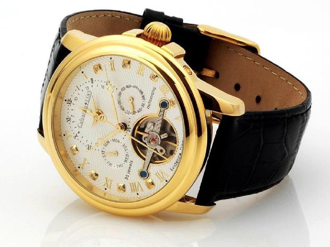 Calvaneo Evidence Diamond Gold Plated Dualtimer Watch - 3