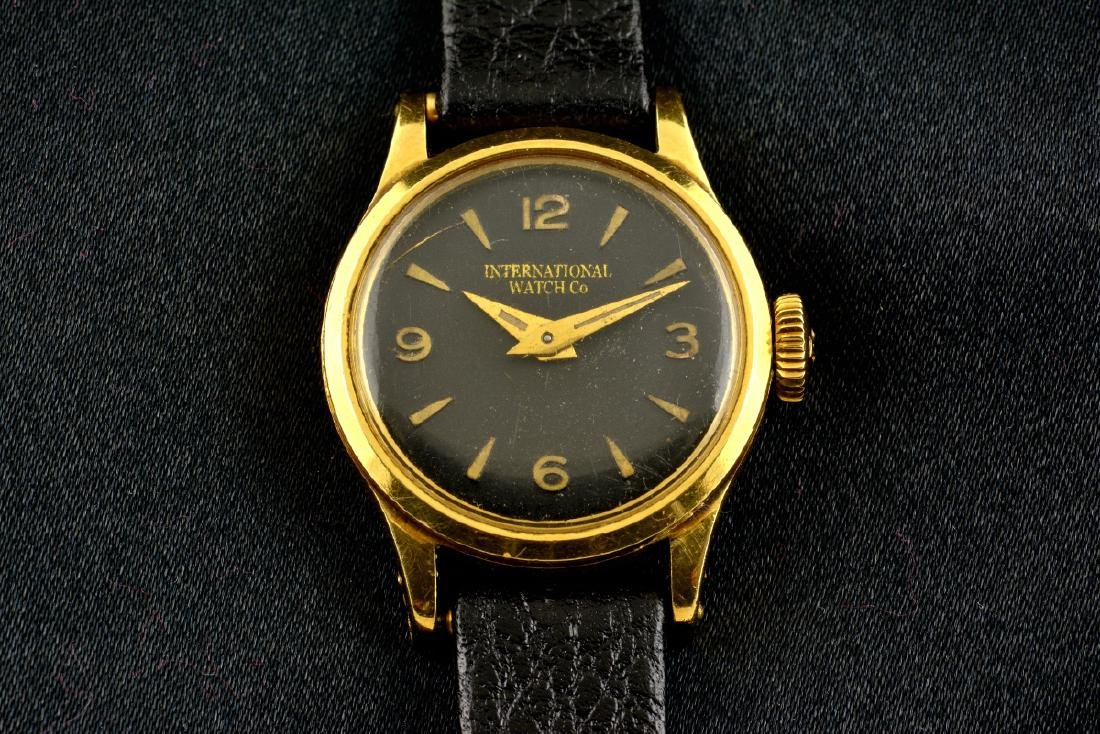 IWC Schaffhausen 18K Gold Black Dial Manual Watch