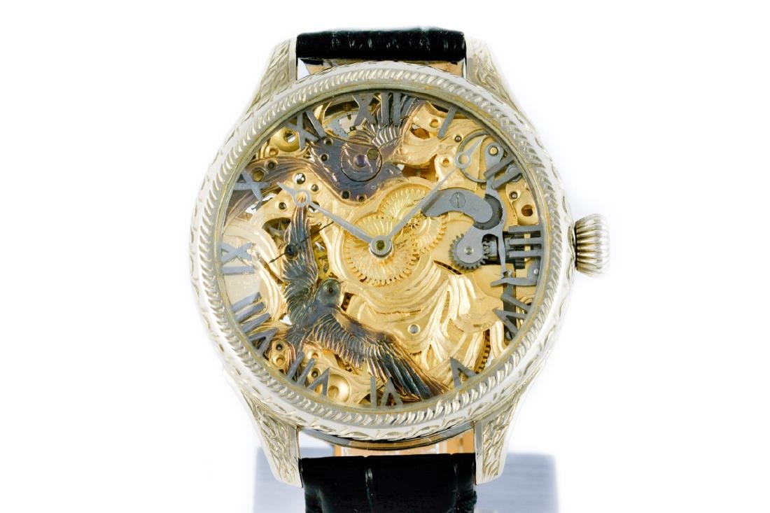 Unique Omega Skeleton Watch With Birds Decoration