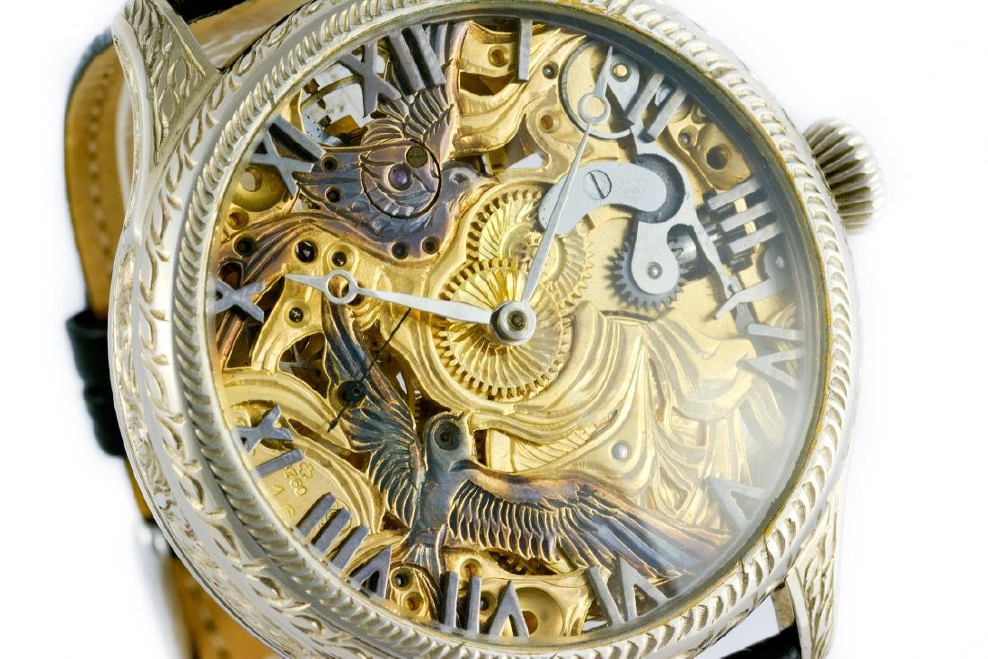 Unique Omega Skeleton Watch With Birds Decoration - 2