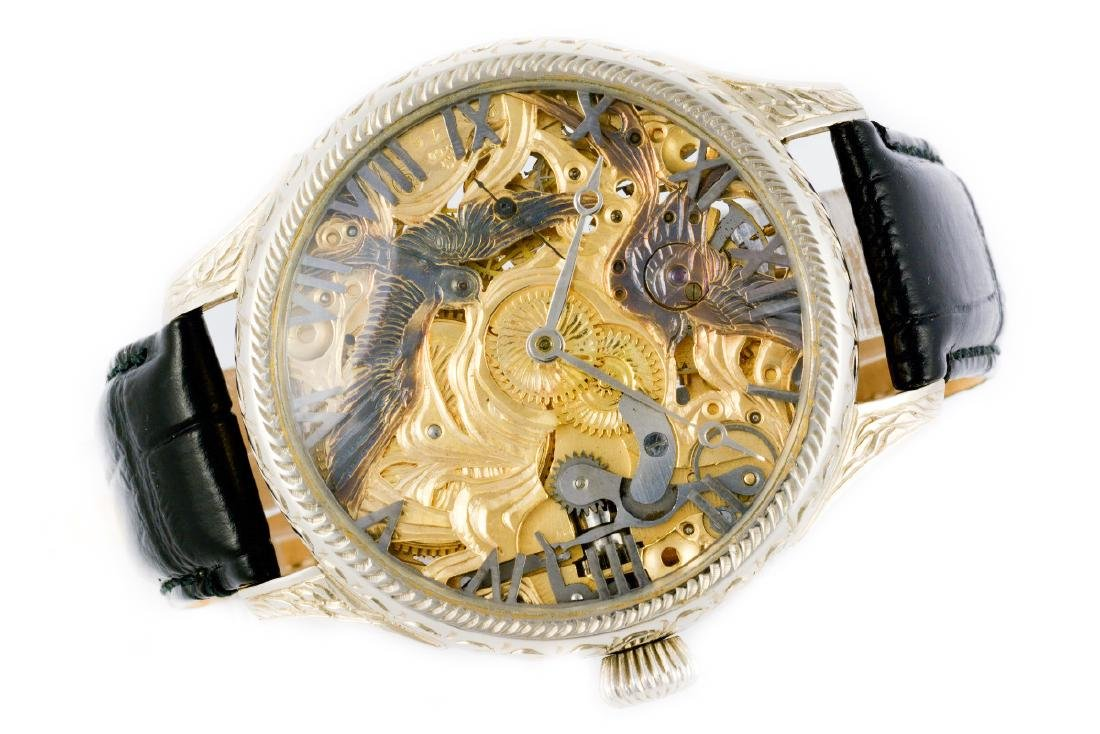 Unique Omega Skeleton Watch With Birds Decoration - 3