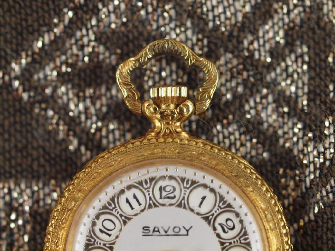 Vintage Savoy Art Deco Gold Plated Pocket Watch - 4