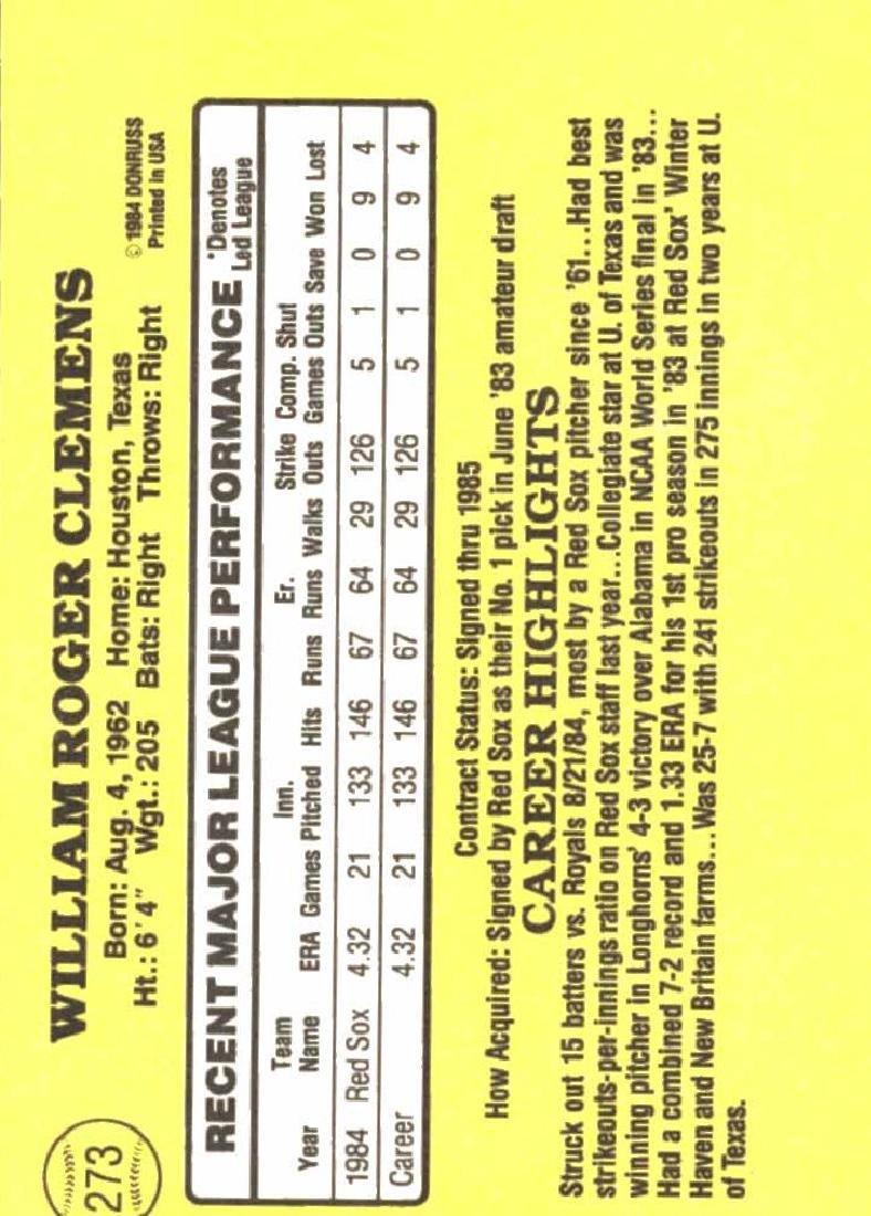 1985 Donruss Roger Clemens Rookie Card - 2