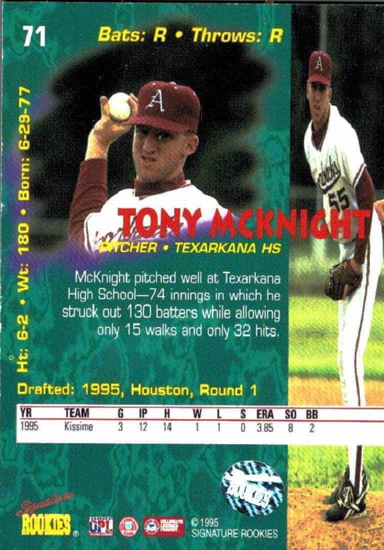 3 Baseball Card Autographed Card Lot Tony McKnight - 6
