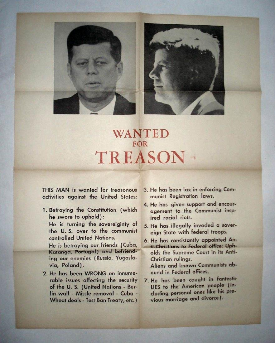 John F. Kennedy 1963 Wanted for Treason Vintage Poster