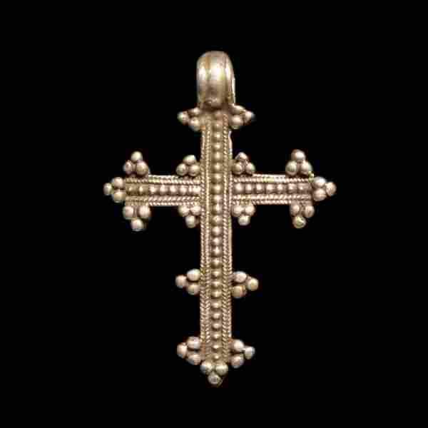 Medieval Crusaders Silver Cross with Granules, c.