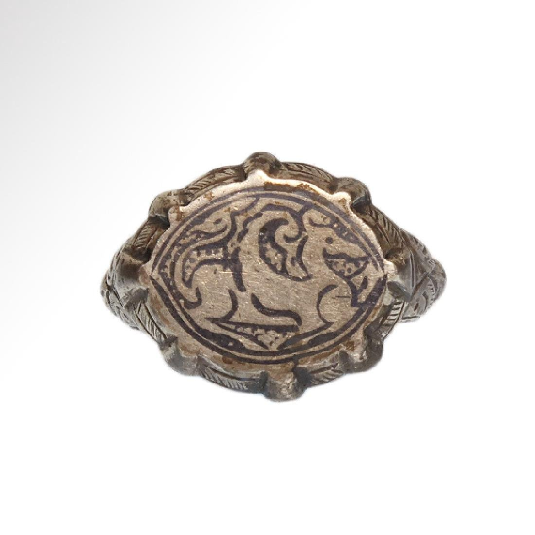 Sassanian Silver Ring with Pegasus, c. 6th Century A.D.