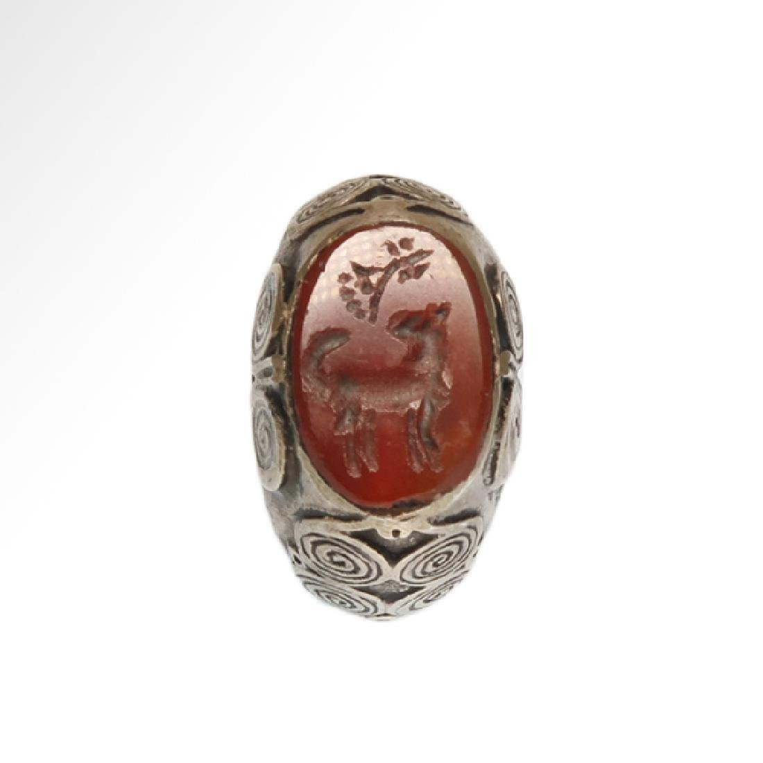 Viking Silver and Cornelian Ring, c. 10th Century A.D.