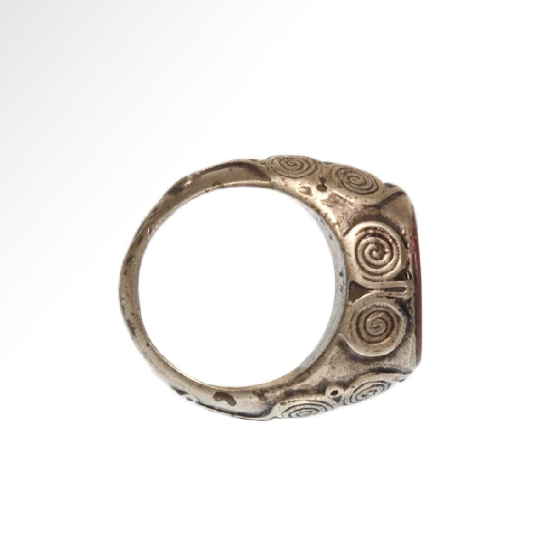 Viking Silver and Cornelian Ring, c. 10th Century A.D. - 2