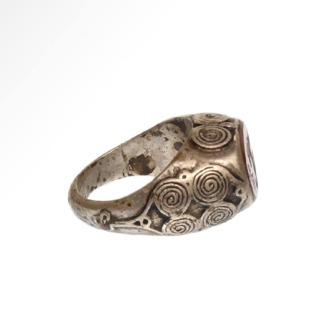 Viking Silver and Cornelian Ring, c. 10th Century A.D. - 3