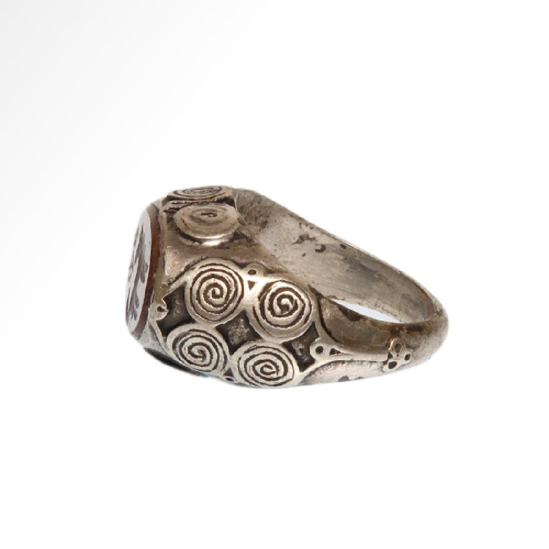 Viking Silver and Cornelian Ring, c. 10th Century A.D. - 4