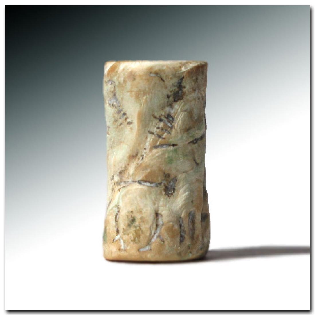 Large Akkadian Fossil Shell Cylinder Seal, Contest - 4