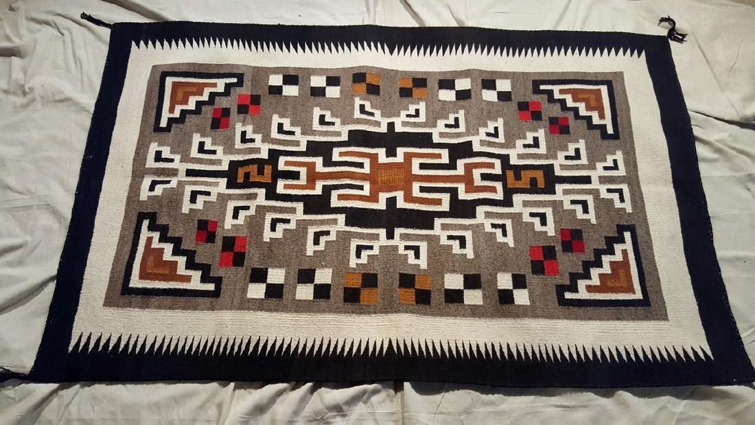 Navajo Woven Rug Ca 1950's - 2