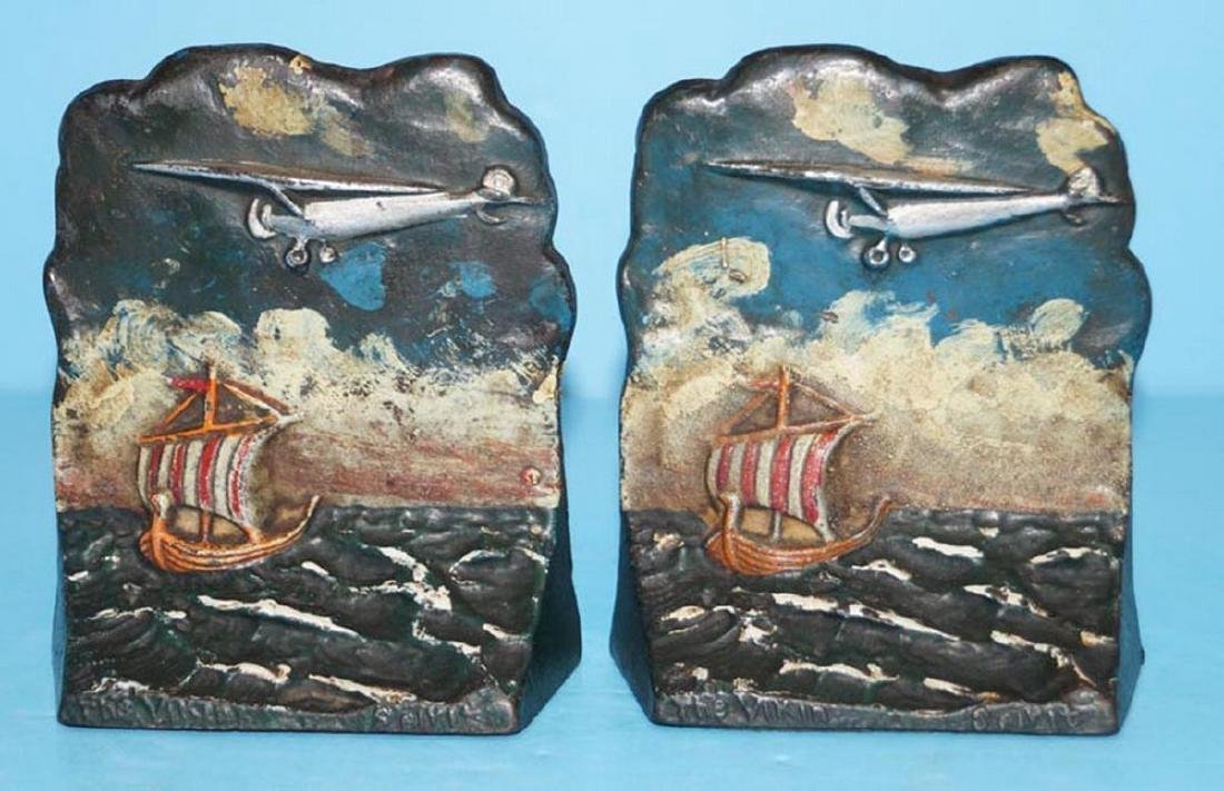 Antique Spirit of St. Louis Cast Iron Bookends