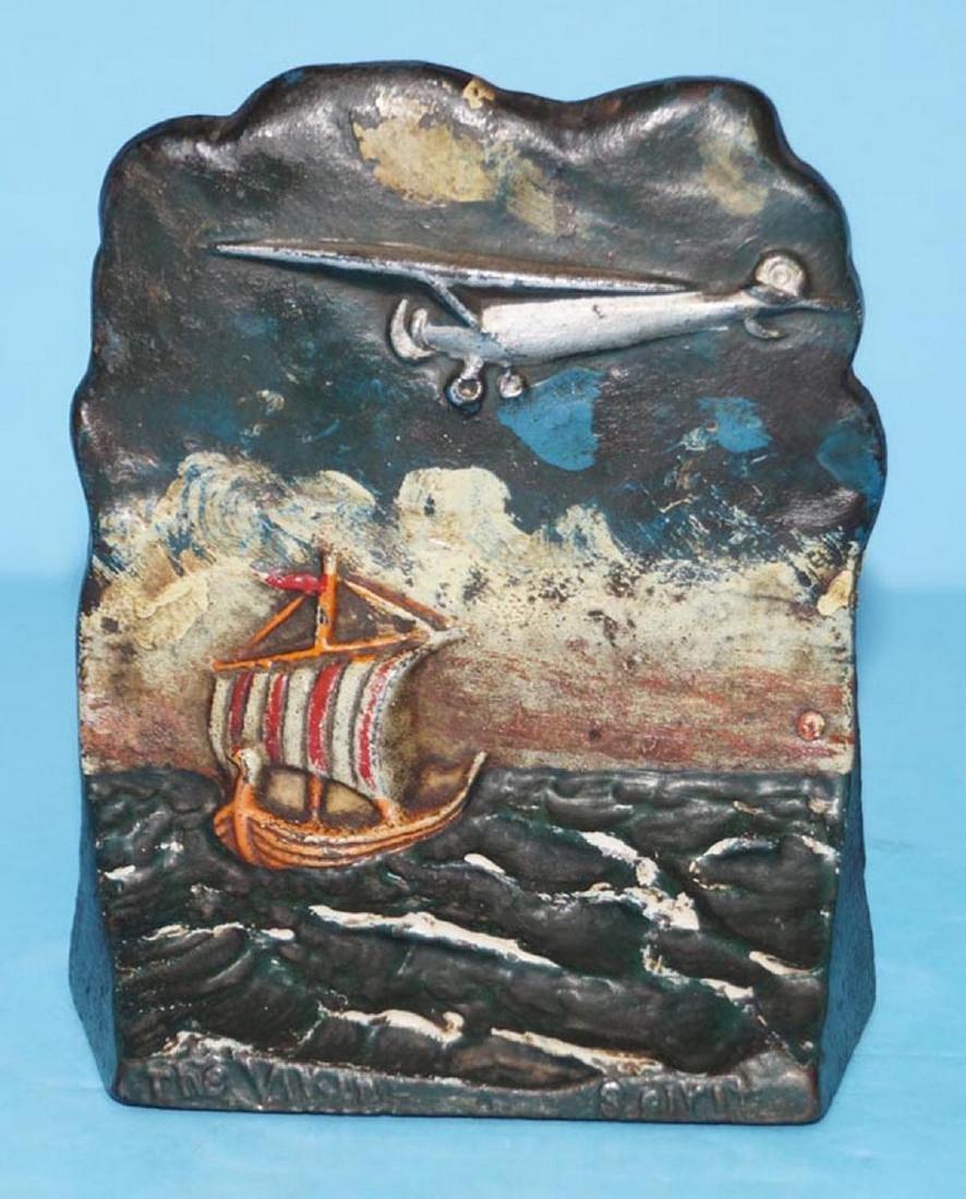 Antique Spirit of St. Louis Cast Iron Bookends - 2