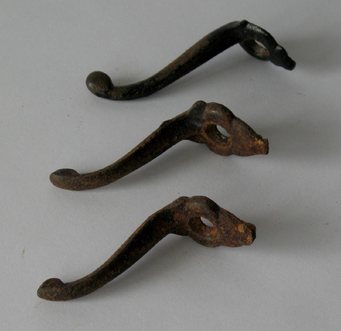 Set of Three Cast Iron Coat Hooks 1930's