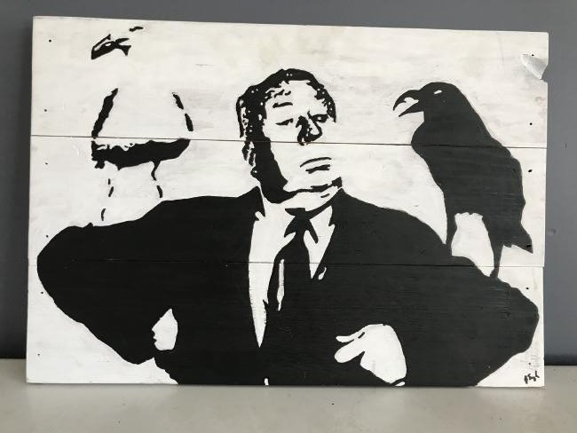 "Alfred Hitchcock ""Birds"" Artist Signed Folk Art Panel"