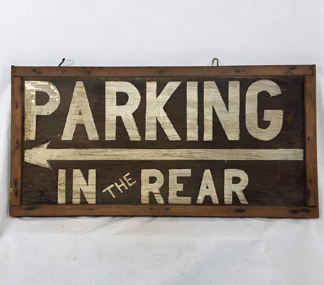 Vintage Parking in Rear Sign Ca 1940's