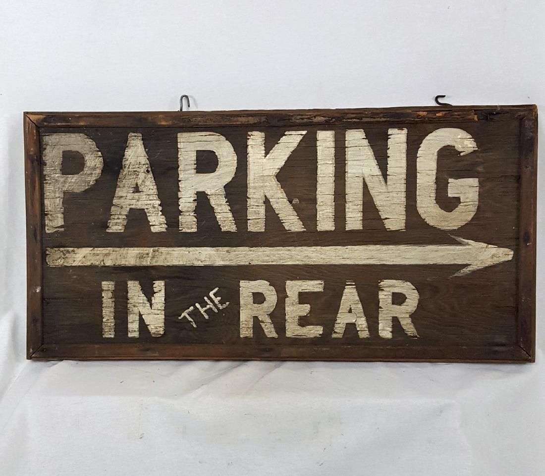 Vintage Parking in Rear Sign Ca 1940's - 2