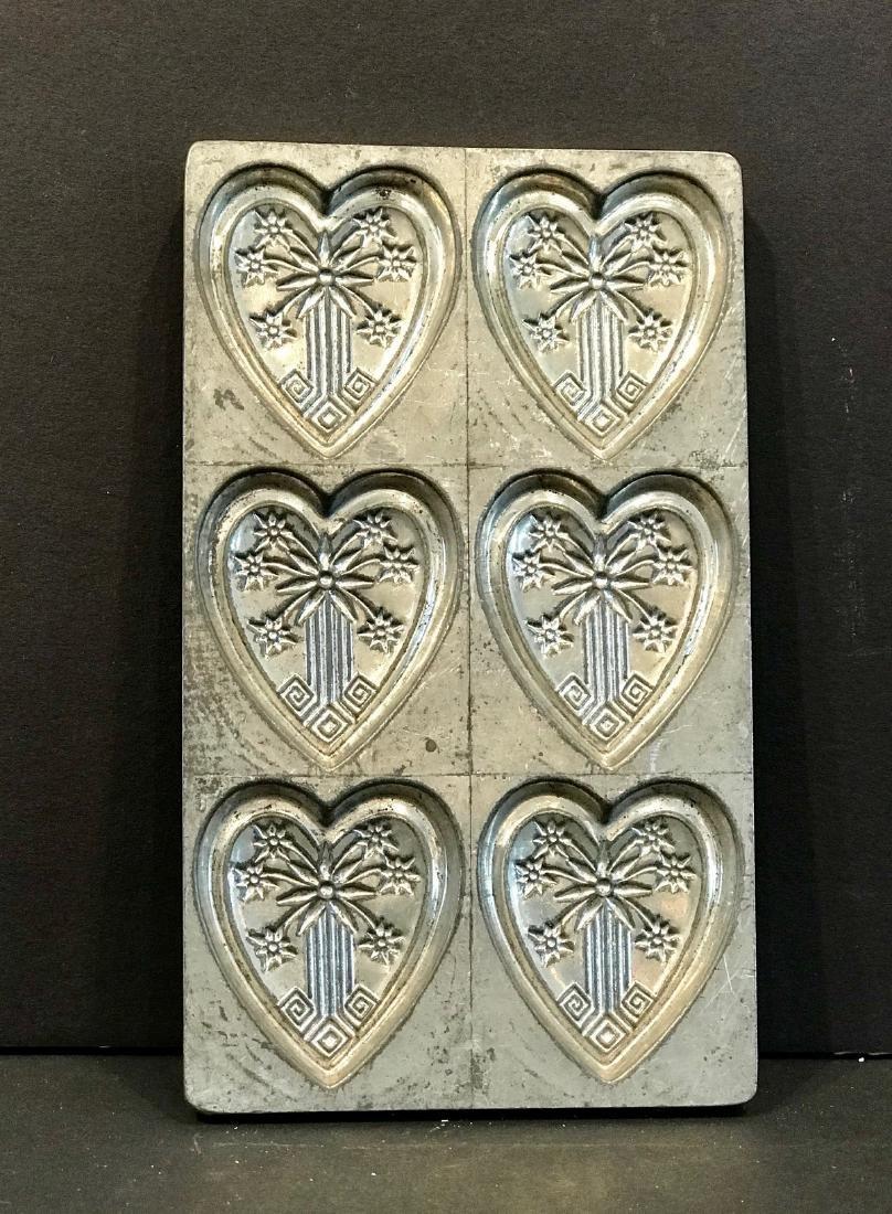 Eastlake Heart Motif Flattie Chocolate Mold, C. 1890