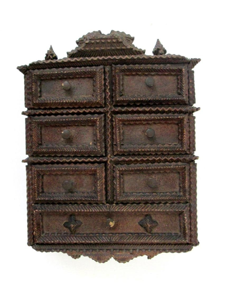 Tramp Art Painted Spice Chest Late 19th Century