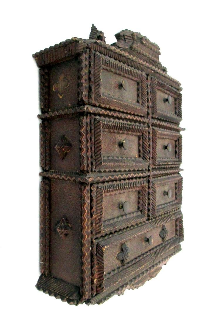 Tramp Art Painted Spice Chest Late 19th Century - 5
