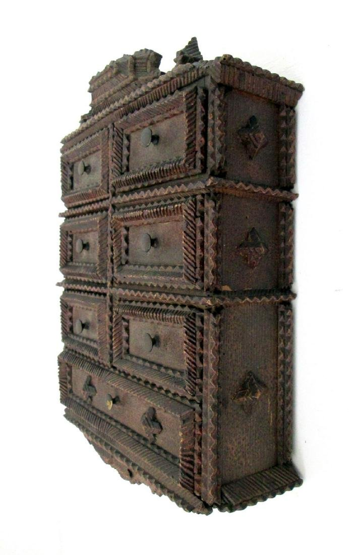 Tramp Art Painted Spice Chest Late 19th Century - 6