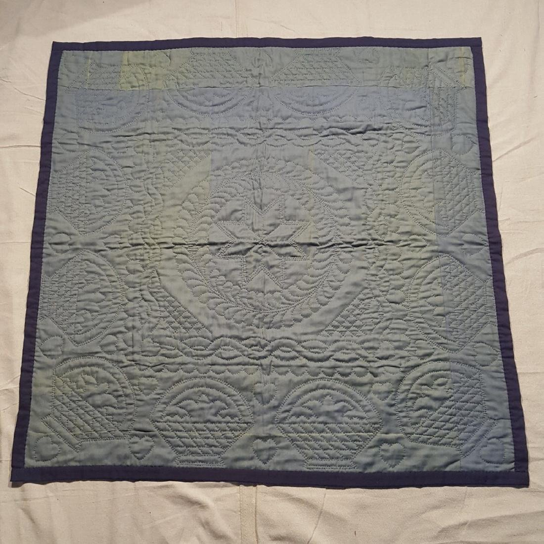 Early Amish Center Square Wool Crib Quilt Ca 1940's - 5