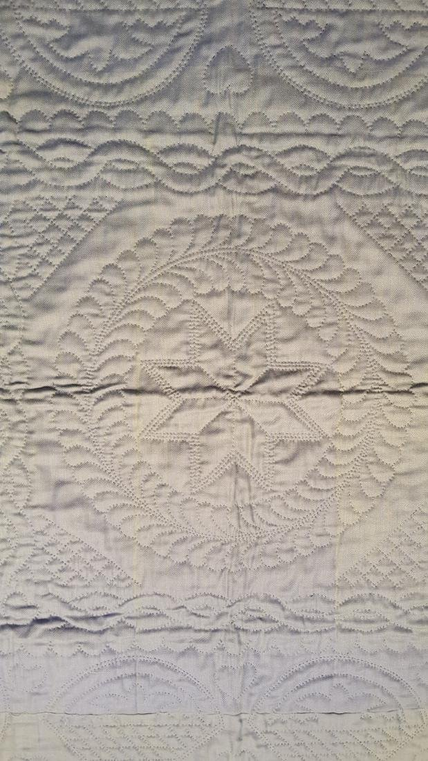 Early Amish Center Square Wool Crib Quilt Ca 1940's - 7