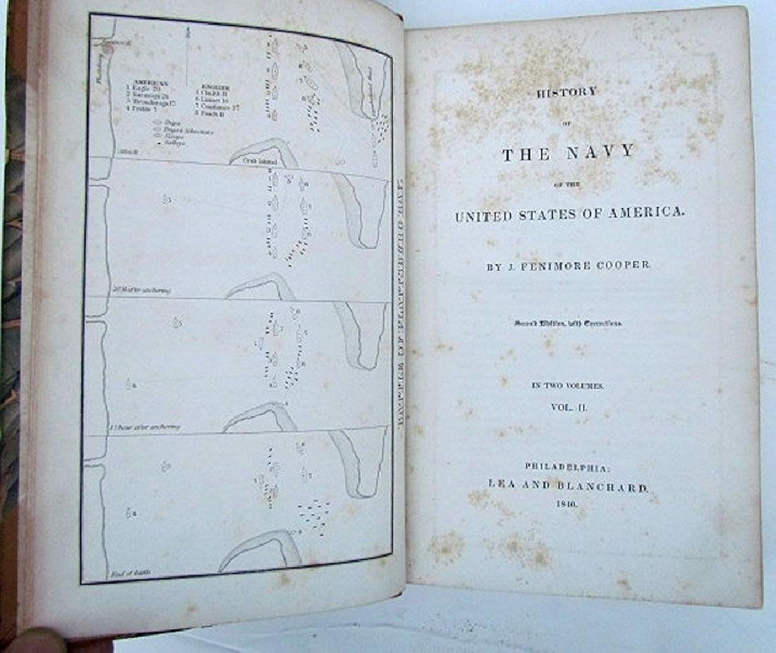 1840 2 Vol Naval History United States Fenimore Cooper - 4