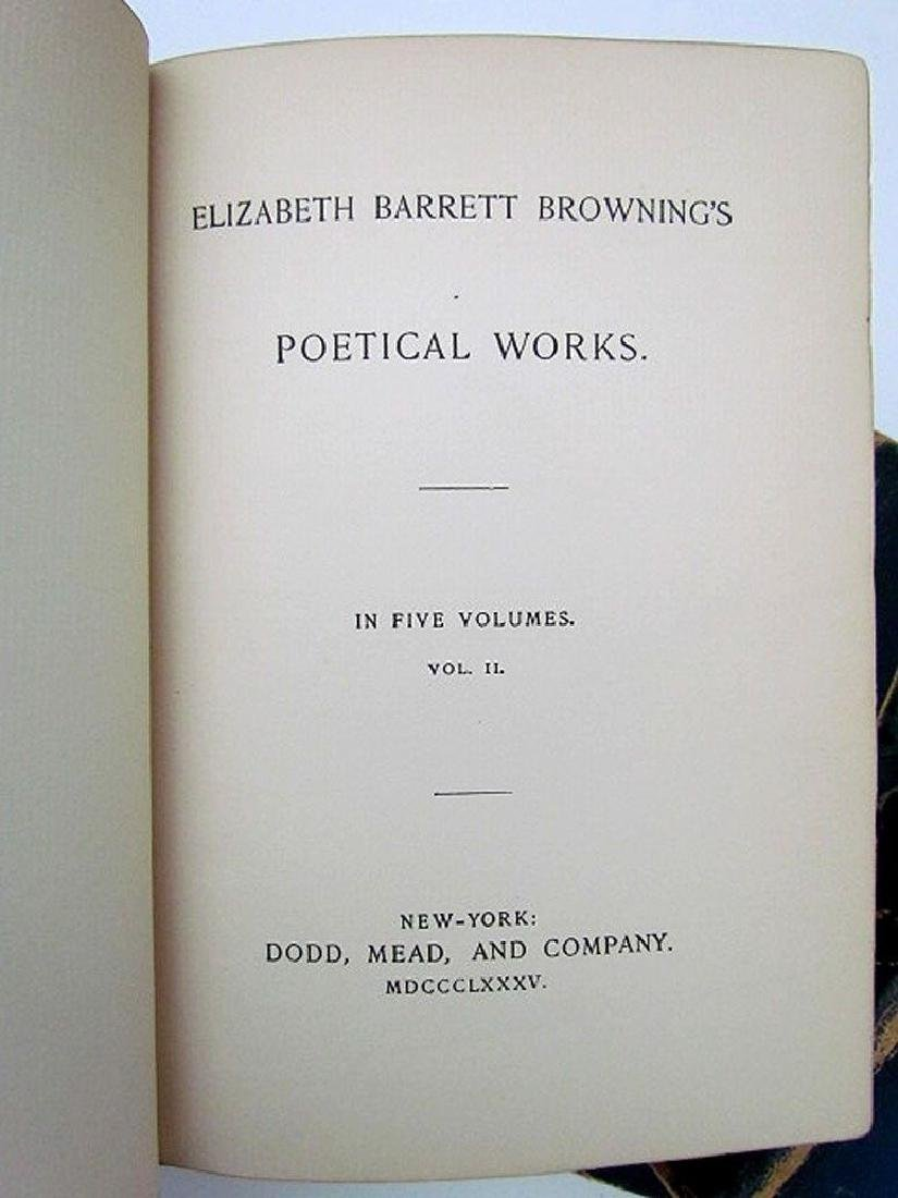 1885 4 Volumes Elizabeth Browning's Poetry Antique Book - 3