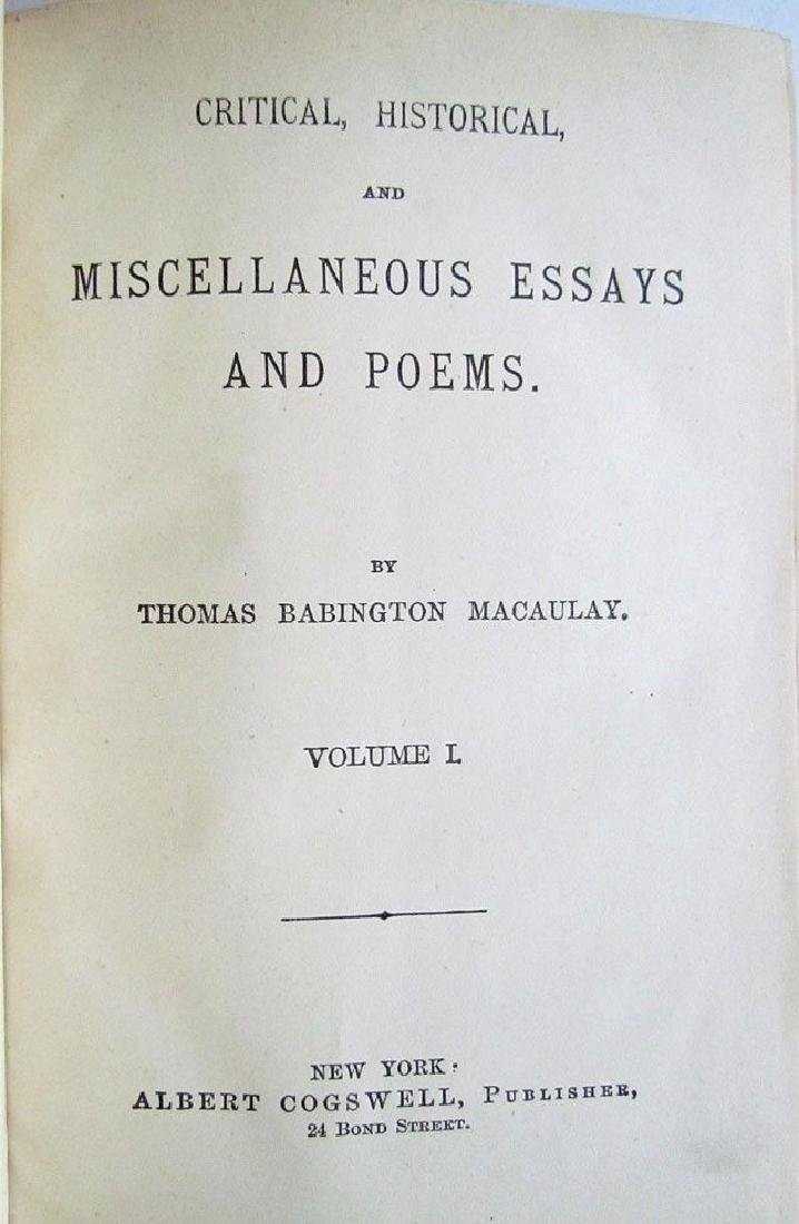 1881 8 Thomas Macaulay Essays & Poems Antique Leather - 2
