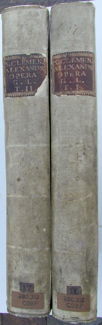 Antique 1757 2 Vol Vellum Bound Folios in Greek & Latin