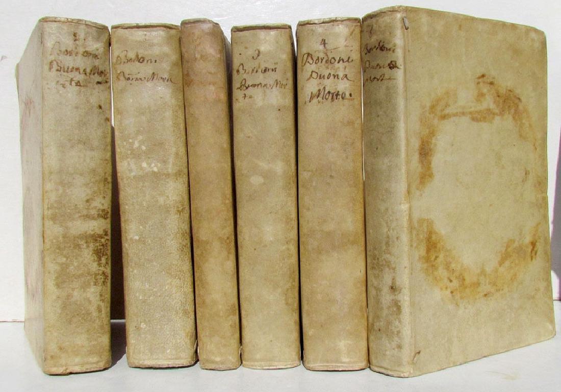 1760 Antique Set of 6 Vellum Bound Books in Italian