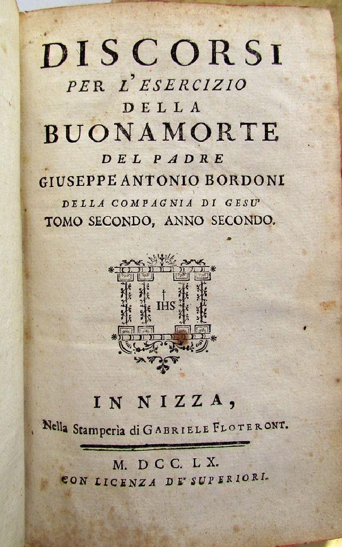 1760 Antique Set of 6 Vellum Bound Books in Italian - 3