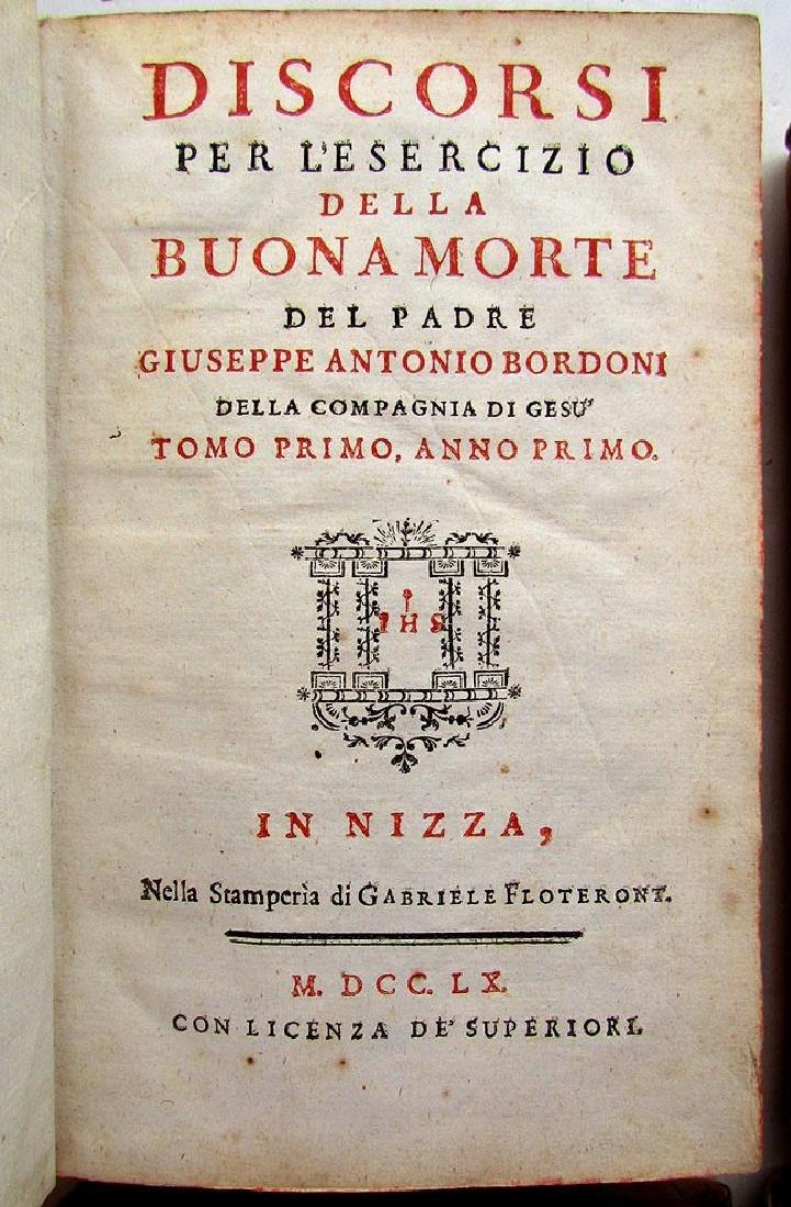1760 Antique Set of 6 Vellum Bound Books in Italian - 7