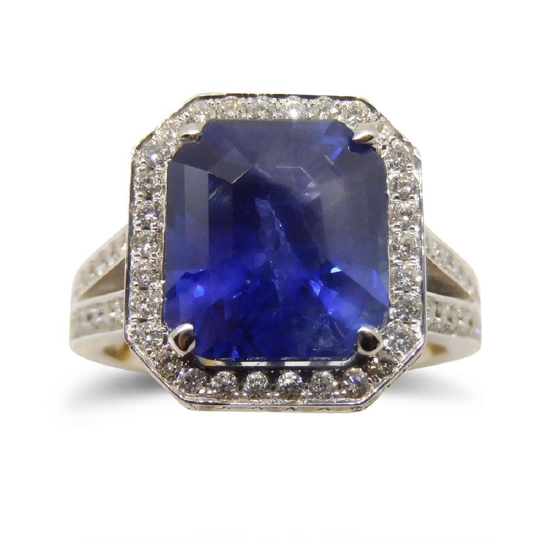 18K White Gold Unheated Sapphire Ring, 5.75ctw
