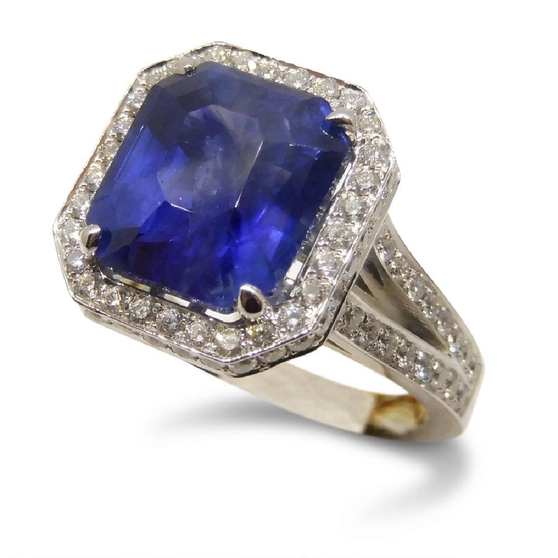 18K White Gold Unheated Sapphire Ring, 5.75ctw - 2