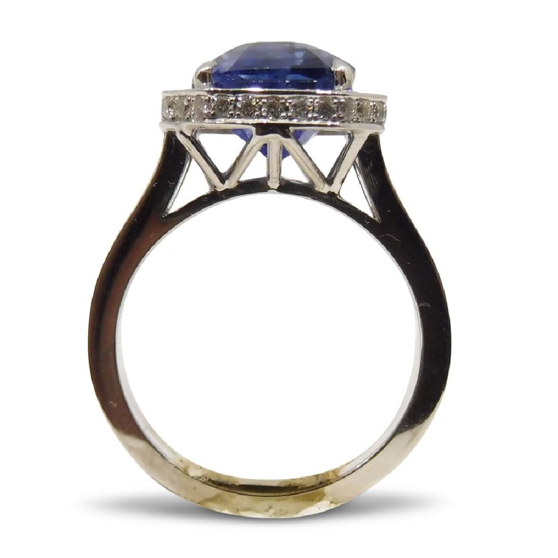 18K White Gold Unheated Sapphire Ring, 5.75ctw - 3