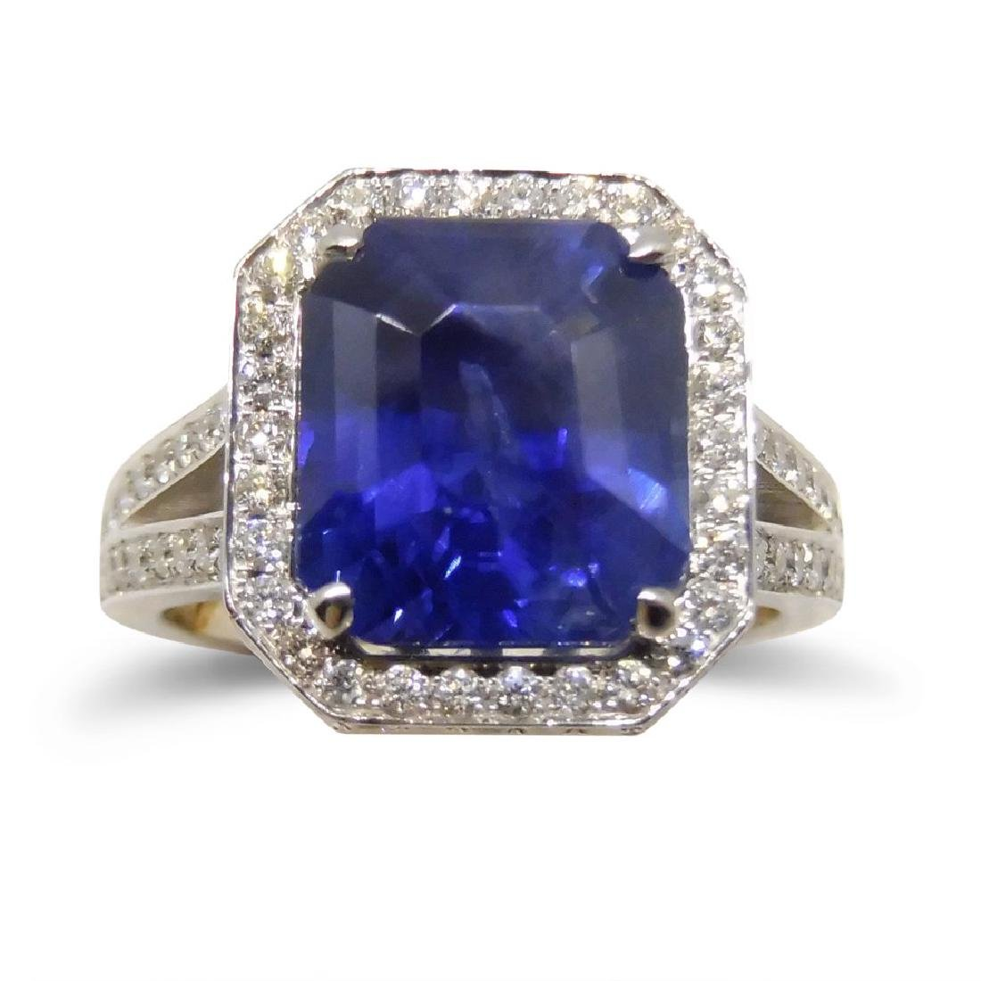 18K White Gold Unheated Sapphire Ring, 5.75ctw - 4