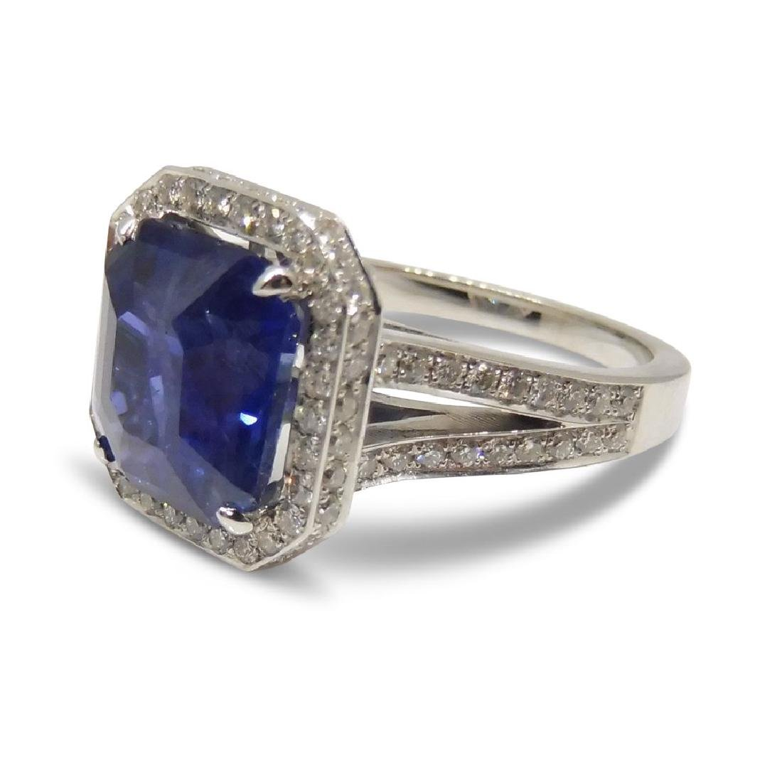 18K White Gold Unheated Sapphire Ring, 5.75ctw - 5