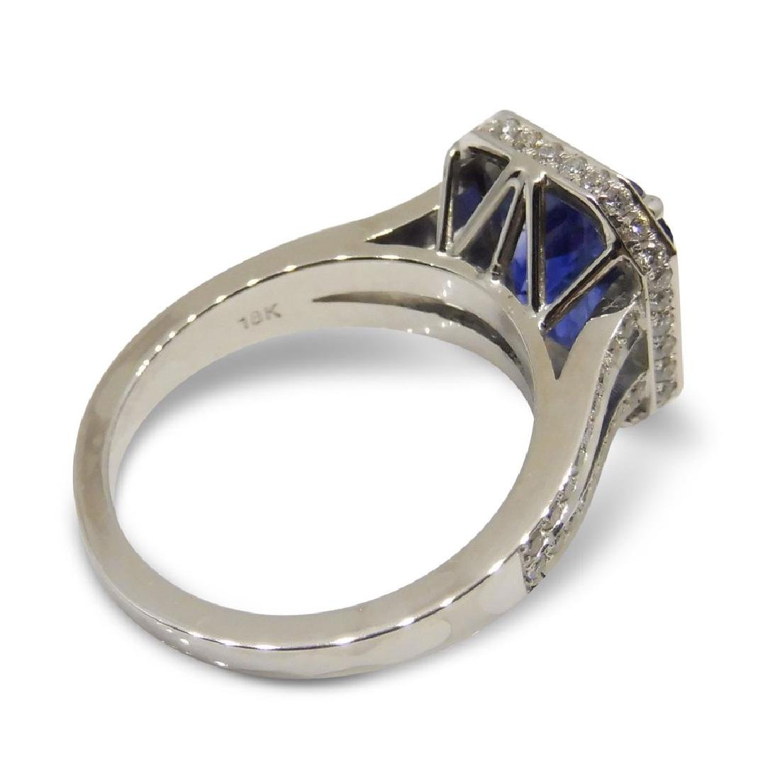 18K White Gold Unheated Sapphire Ring, 5.75ctw - 7
