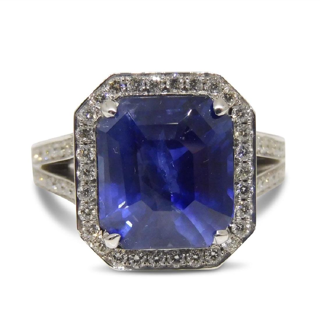 18K White Gold Unheated Sapphire Ring, 5.75ctw - 8