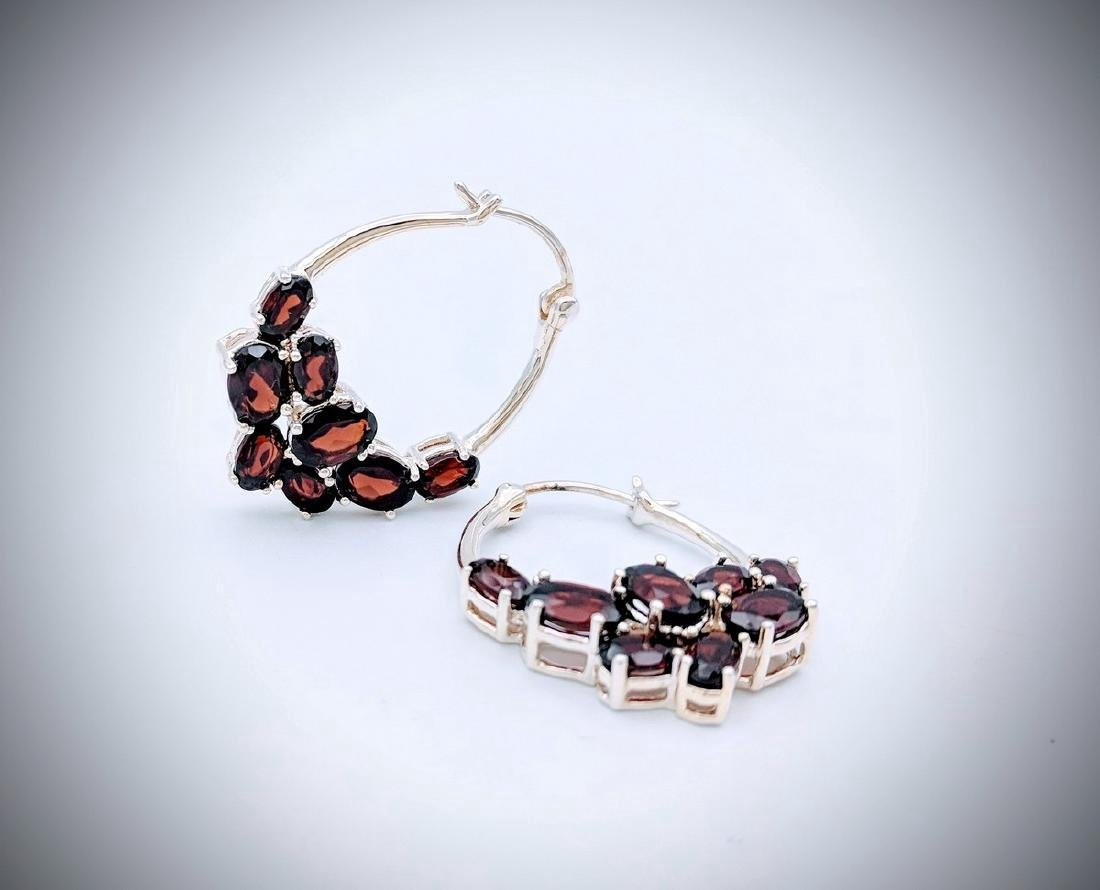 Sterling Silver Clustered Almandine Garnet Earrings