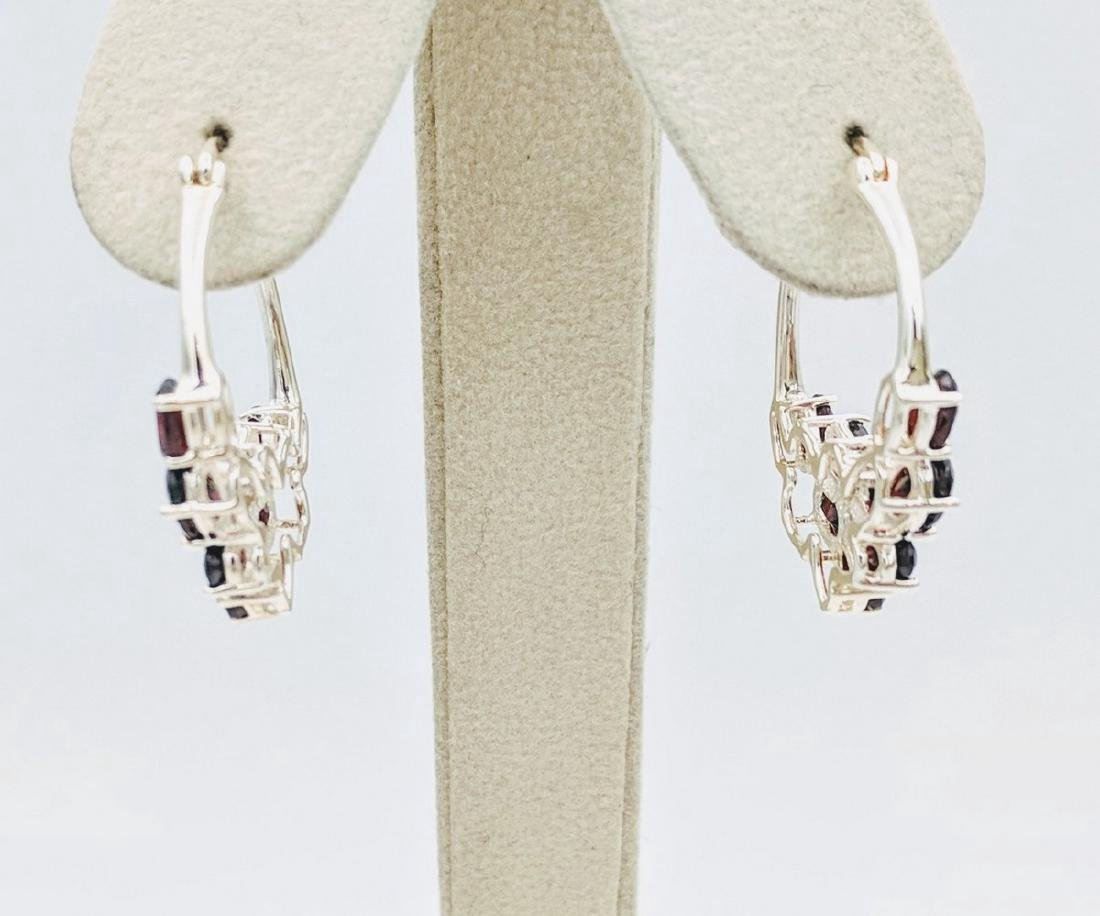 Sterling Silver Clustered Almandine Garnet Earrings - 2