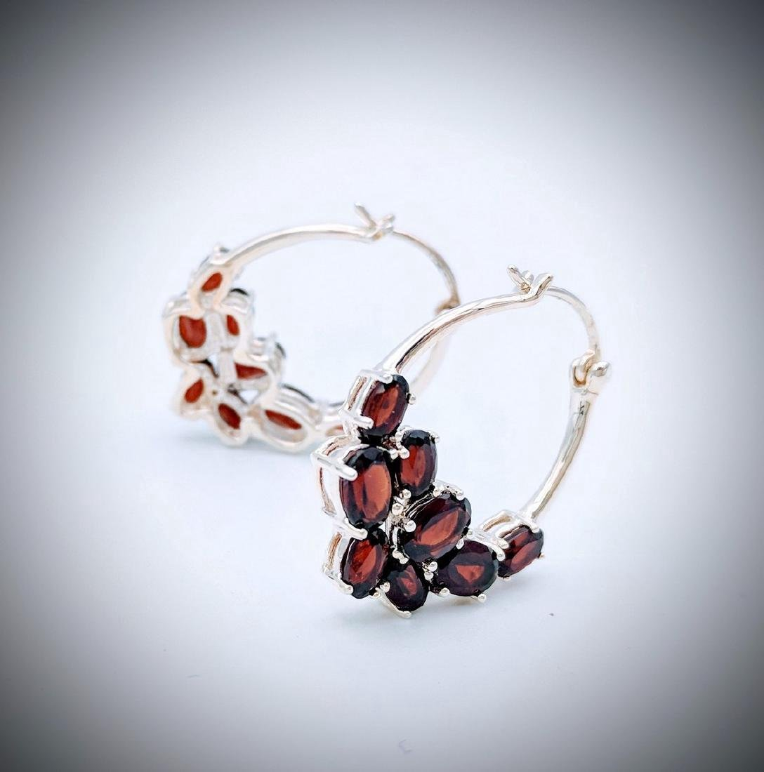 Sterling Silver Clustered Almandine Garnet Earrings - 3
