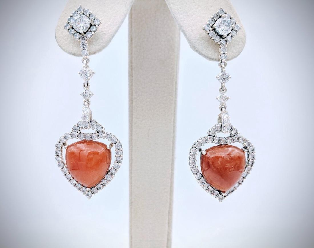 Sterling Silver Jasper Cubic Zirconia Heart Earrings