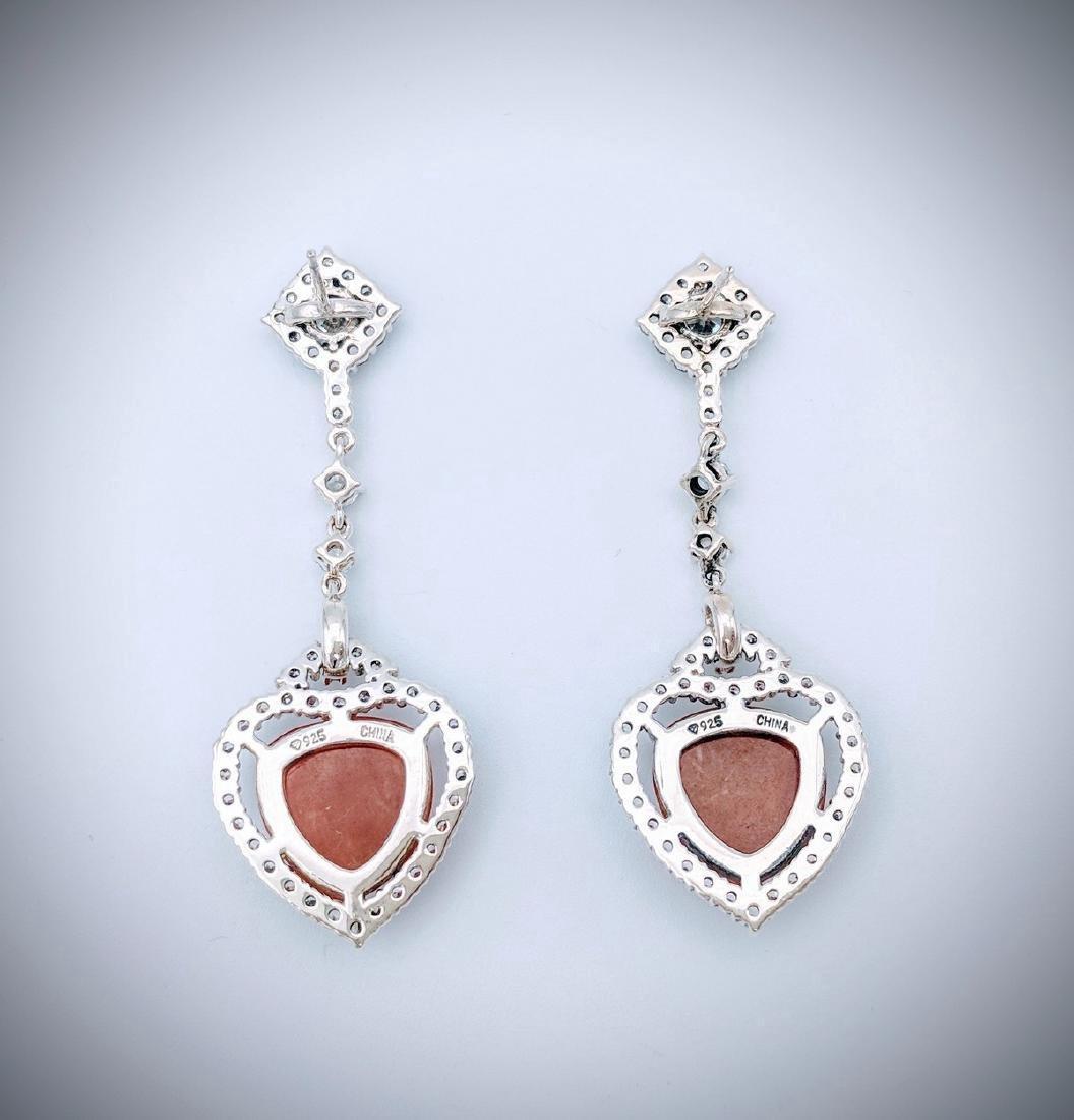 Sterling Silver Jasper Cubic Zirconia Heart Earrings - 2