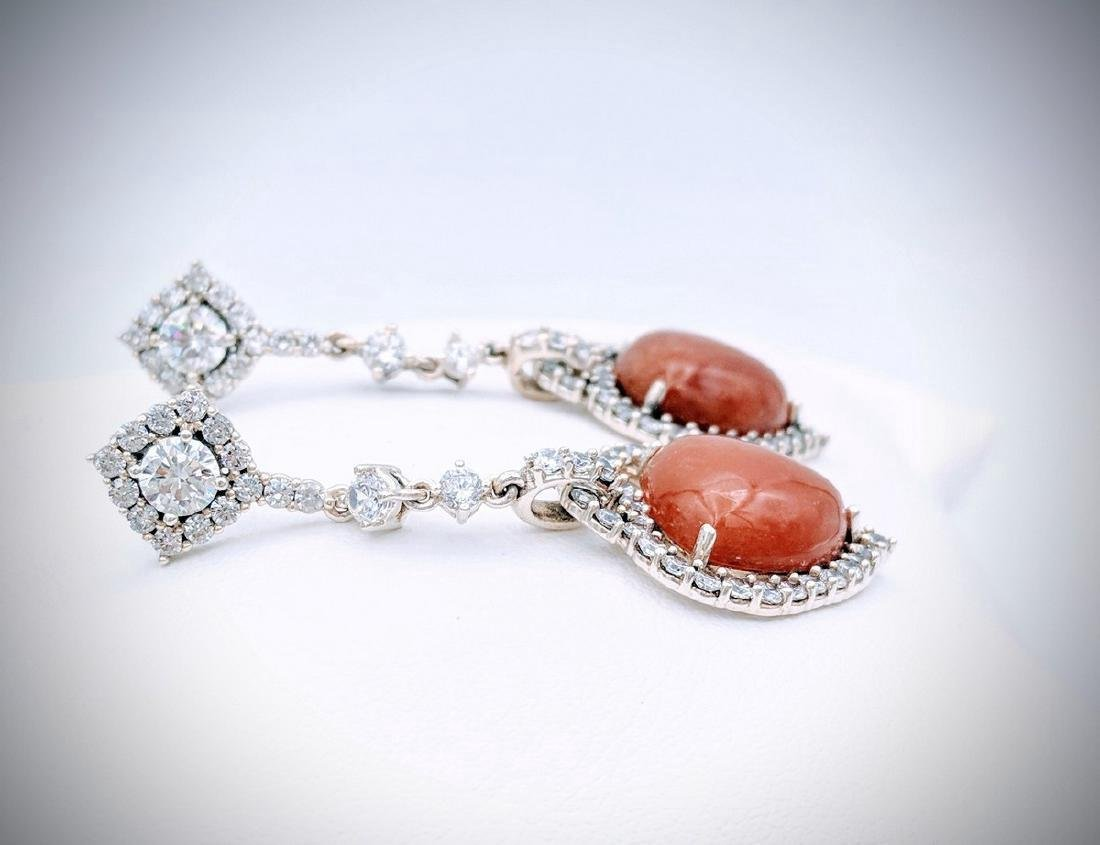 Sterling Silver Jasper Cubic Zirconia Heart Earrings - 3